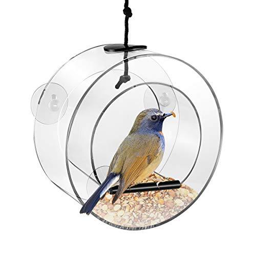 POPETPOP Fenster Vogelfutterspender Acryl Runden Futterspender für Wildvögel mit 4 Saugnäpfe