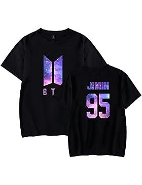 AmanGaGa Donna Modo KPOP BTS T Shirt Scollo Rotondo Casuale Allentato Maglietta Stampate Blusa Comoda Tunica Top