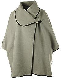Frauen Italian Lagenlook Faux Wolle Schnalle Kragen Damen Cape Jacke