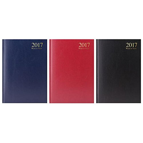 2017-blue-a5-week-to-view-hardback-desk-diary-work-office-business-3183