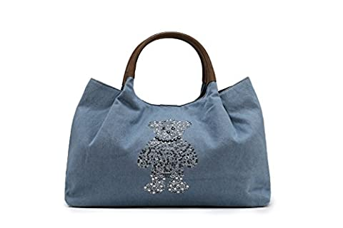 Sak&Co. Ladies Canvas Handbags Hobo Bags Women Slouch Tote Bag Oversized Book Purses - Teddy Bear Bling (Jean Blue, Large)
