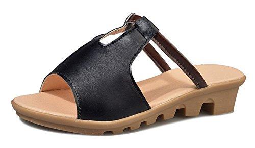 Mme Summer pente croûte épaisse avec le mot glisser des sandales plates et pantoufles plage Black