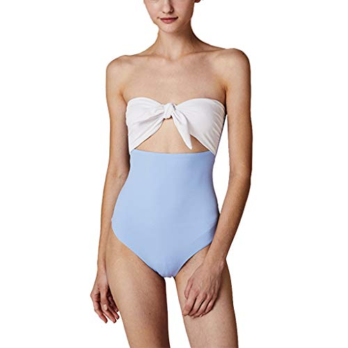 Yijiayu Badebekleidung Frauen Badeanzug Bow Tube Top Bademode Strand Bademode Bikini Sexy Dessous Geschenk (Color : Blue, Size : M) Tube Top Lycra