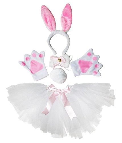 Rabbit Tail Kostüm - Petitebelle Easter Costume White Rabbit Headband Paw Bow Tail Gauze Skirt Set (White)