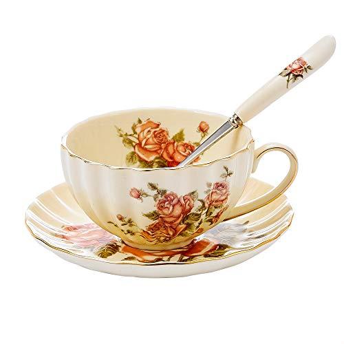 Panbado, 3-telig Kaffeeservice aus Porzellan, Creme Teeservice, mit 300 ml Kaffeetasse, Untertasse und Löffel