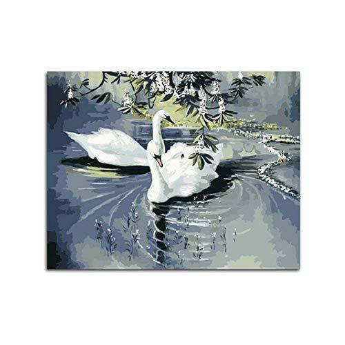 Waofe Weißer Schwan-Raum-Dekor-Anstrich Für Wohnzimmer Diy-Vogel-Bilder-Ölgemälde Durch Zahlen Zeichnen Durch ZahlenEshz-85890-Ohne Rahmen