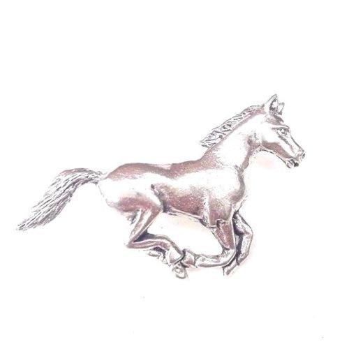 Running horse fein handgefertigt in massivem Zinn in Großbritannien Anstecknadel + 59mm Button + Geschenk Tüte -