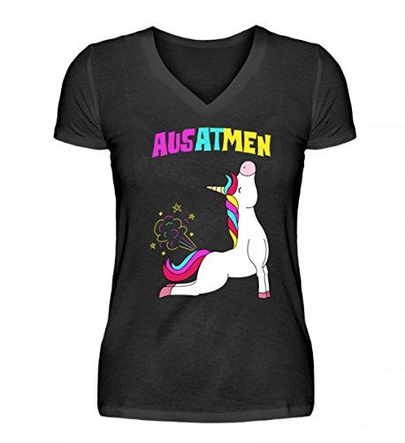 Hochwertiges V-Neck Damenshirt - Einatmen Ausatmen Einhorn Yoga Unicorn Einhörner Regenbogen Geschenkidee Lustig Spruch Motiv T-Shirt