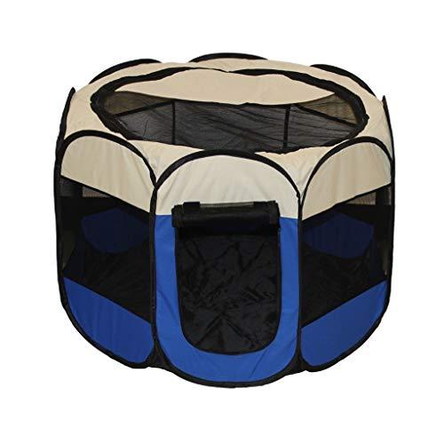 DWJ-Z Tragbar Haustier Zelt, Hund Katze Haus Zaun Waschbar Falten Sternanis Zaun (Color : Blue)