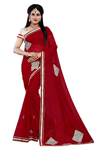Aracruz Red Georgette Diamond Stone Patch Work Lace Bordered Sarees For Women...