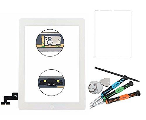 Trop Saint Vetro Touch Screen Bianco Compatibile con iPad 2 con Biadesivo Ricambio Frontale Vetro Schermo Pannello Home per (A1395, A1396, A1397)