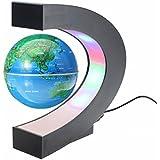 MECO Créatif Globe Terrestre Lumineux Flottant Magnétique Lévitation Globe Lamp avec Lumières LED Sphère pour Démonstration de l'enseignement Décorations Maison et Bureau Cadeau de Noël d'Anniversaire Bleu
