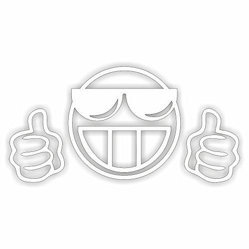 Cool Aufkleber Auto (Smiley cool Shocker Hand Auto Aufkleber JDM Tuning OEM DUB Decal Stickerbomb Bombing fun w (Weiß) (Schwarz) (Schwarz) (Weiß))