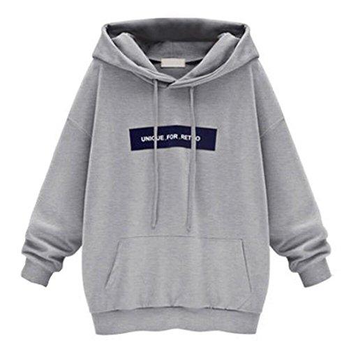 Ninasill Frauen Sweatshirt, ღ ღ Exklusive Lang Sleeve Hoody Sweatshirt Jumper Buchstabe Pullover Tops Casual Small Grau