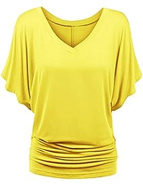 [Patrocinado]Baijiaye Mujer Tee Top Talla Grande Manga Corta Camiseta Suelto V Collar Bat Sleeve Casual Tee
