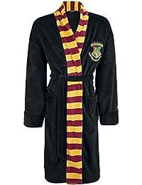 Harry Potter Damen Bademantel mit Hogwarts Wappen, mit Bindegürtel und Seitentaschen