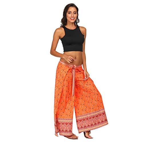 Dtuta Damen Bekleidung GroßE Hosen, Thailand BöHmen Digitaldruck Schlanke Lange Beine Lose Yoga Sport LäSsig Leichte Bequeme Beinschlaufen Wild (Thailand Kostüme Kleider)