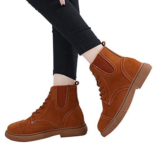 TianWlio Damen Stiefel Stiefeletten Höhe Schnitt Low Tube Side Reißverschluss Gürtelschnalle hoch Hilfe Frauen Martin Stiefel
