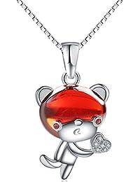 Chaomingzhen 925 Sterling Silber Rhodiniert Zirkonia Kristall Tier Affe Herz Anhänger Halsketten Damen mit Kette
