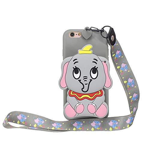 Miagon Silikon Hülle für iPhone 8/7,3D Süß Brieftasche Lager Tasche Design mit Halskette Kordel Schnur Handykette Necklace Band,Grau Elefant