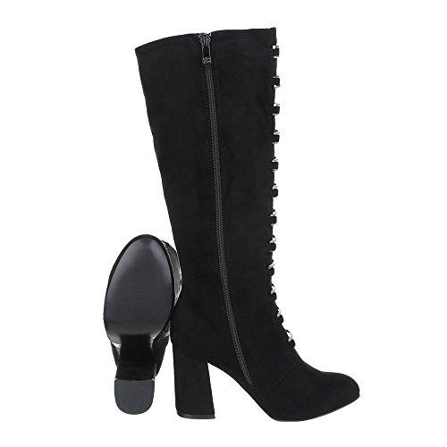 Scarpe da donna Stivali tacco gattino Stivali col tacco Ital-Design Nero