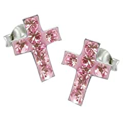 Idea Regalo - So Chic Gioielli - Orecchini Croce Crocifisso Gesù Cristo Cristallo Rosa Argento Sterling 925