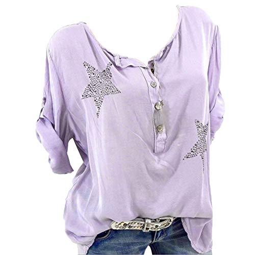 feuerwehrhemd MOIKA Damen T-Shirt, Groß Größe Frauen Damen Freizeit V-Ausschnitt Manschetten-Ärmel Locker Punkte Taschen Shirt Bluse Langarm Tops Bluse