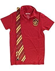Harry Potter Gryffindor Mens Red Polo Shirt with Tie | L