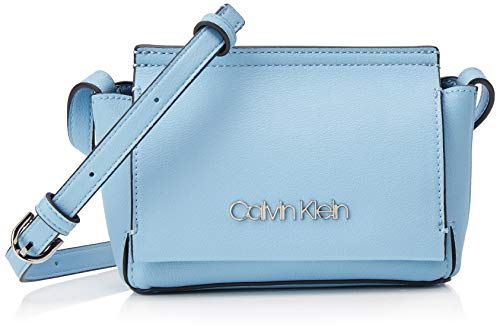 Calvin Klein Damen Stitch Flap Crossbody Umhängetasche, Blau (Dusty Blue) 8x29x14.5 cm - Flap-kleine Satchel