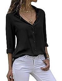 new product 9d264 1764d Decai Chemisier Femme Blouse Mousseline de Soie Col V Manche Longue Bouton  Chemises de Couleur Unie d été Décontracté T Shirt…