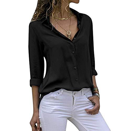 Decai Camisa Mujeres Blusa Casual Cuello V Camiseta Túnica Color Puro Camisa de Gasa Mangas Largas para Mujer Sexy Camisetas Tops Negro 34-36 EU