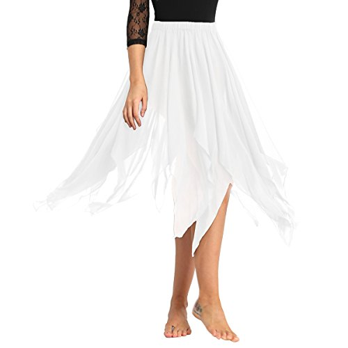 Freebily Damen Bauchtanz Kostüm Chiffon Rock Tanz-Kleid Tanzrock Dance Rock Frauen Tanz Outfits Tanzkleidung Weiß One Size