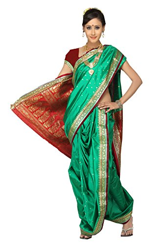 Bhartiya Vastra Bhandar Women's Ready To Wear Nauvari Saree(DNo3_KarishmaRichPalu_Green_FreeSize)
