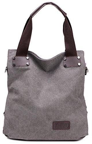 ERGEOB Damen Canvas Umhängetasche Messenger Tasche Damentasche schwarz 03 grau