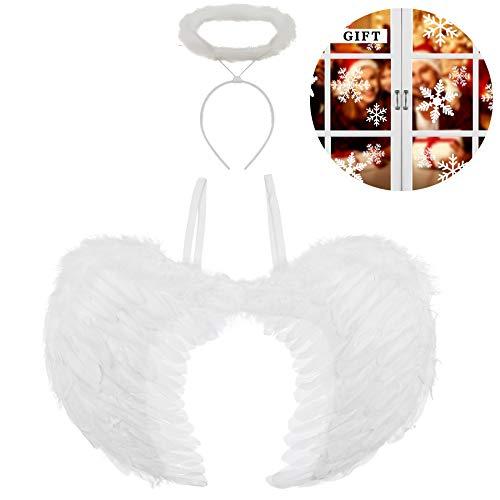 Hook Engelsflügel Weiß, Engel Flügel Kostüm und Heiligenschein für Kinder und Damen, FederflügelEngel Weiss für Halloween Karneval Cosplay Party Fasching Kostüme, + 108 pcs Schneeflocken.