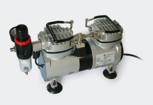 Compresor Aerógrafo AS19 Separador de Agua 2 Cilíndros Silencioso Parada Automática Regulador...