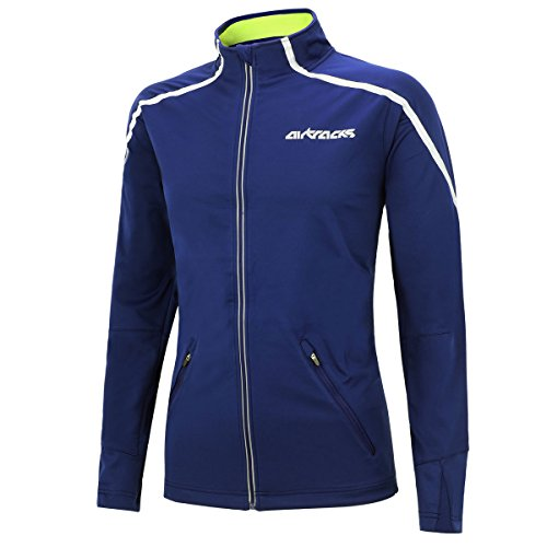 AIRTRACKS THERMO FAHRRADJACKE AIR TECH / LAUFJACKE / WINDSTOPPER / WINDDICHT / WASSERABWEISEND / REFLEKTOREN-BLAU-L