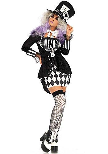 Leg Avenue Wonderland Mad Hatter Kostüm, schwarz, weiß , Größe: Medium (EUR 38/40) (Mad Hatter Bow Tie)