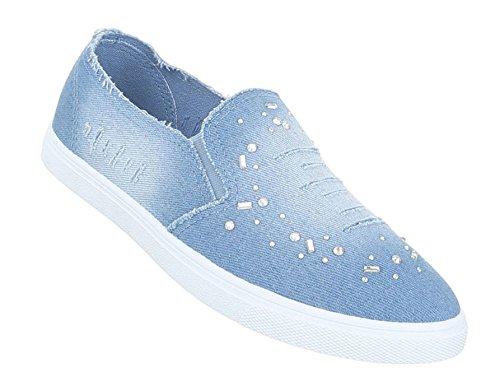 As Sapatos Baixos Sapatilhas Azul Mulheres Claro Mocassim rrwv57nq