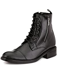Mactree Men's Leather Double Chain+Lace Up Boots-1558