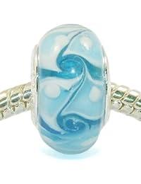 Andante-Stones - cuenta de plata de ley 925, vidrio Murano, matices del color azul, elemento bola para cuentas European Beads + saco de organza