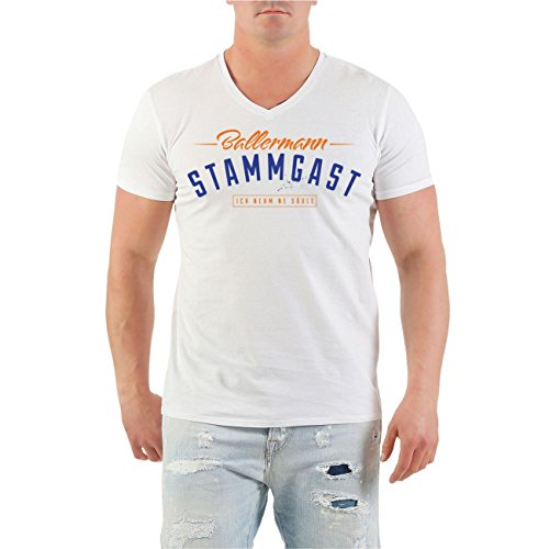 Männer und Herren T-Shirt MALLE Ballermann Stammgast BLAU (mit Rückendruck) V-Neck weiß