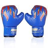 Guantes de Boxeo para Niños Punzonado de Sparring Guantes de Entrenamiento para Niños de 3 a 12 Años de Edad ( Color : Azul )
