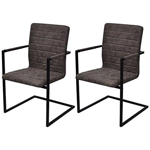 Festnight 2er-Set Freischwinger Esszimmerstühle Essstuhl Küchenstuhl mit Armlehnen Schwingstuhl Braun geriffelt