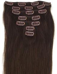 Extensions de cheveux humains à clip 100% Remy Hair 2# Couleur Brun Longueur 38 cm Poids 70 grams