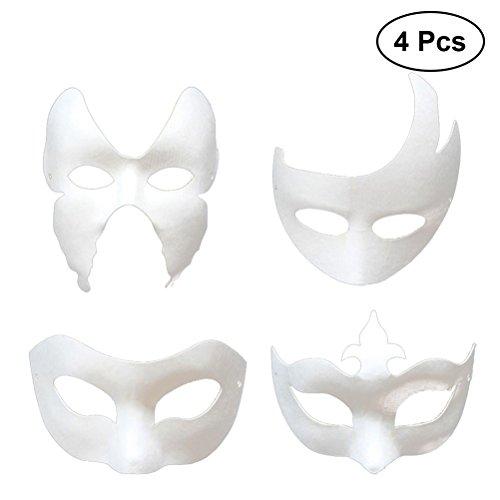 YeahiBaby 4 stücke Kinder Blanko Maske DIY Unlackiert -