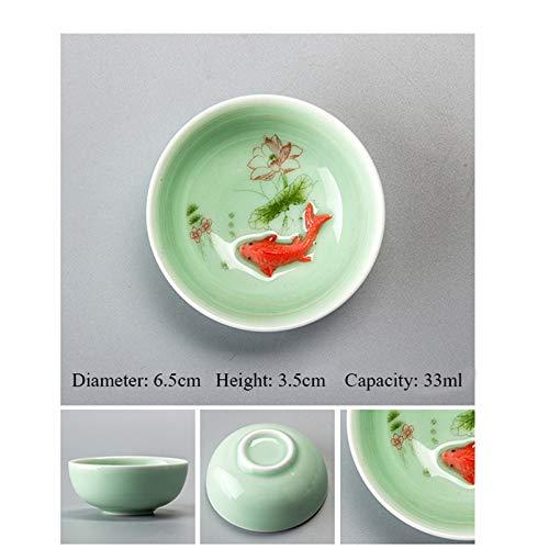 YLDEAR Chinesische Teetasse Porzellan Seladon Fisch Teetasse Set Teekanne Drink Keramik China Kung Fu Tee Set Keramik Tasse Chinesisches Geschenk Fisch Tee