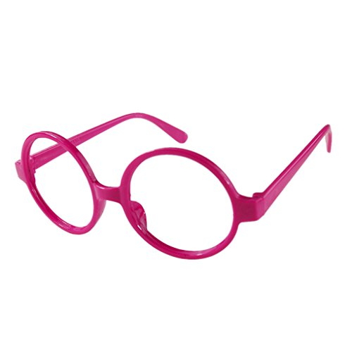 QHGstore Fancy Round-Rahmen-Partei-Kleid Big Nerd-Brille Brillengestell ohne ObjektivRose