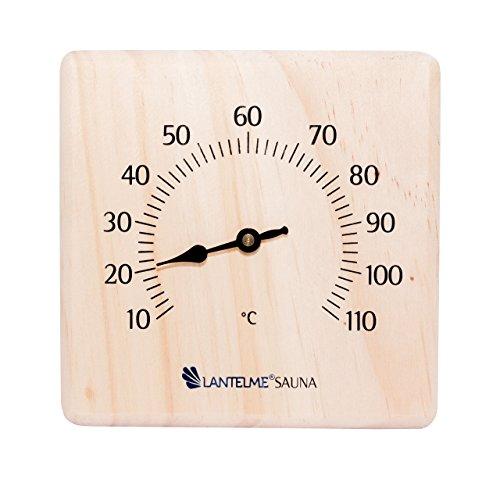Preisvergleich Produktbild Lantelme Sauna Holz Kiefer massiv Thermometer Bimetall Saunathermometer Analog