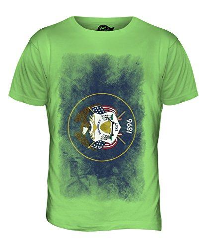 CandyMix Bundesstaat Utah Verblichen Flagge Herren T Shirt Limettengrün